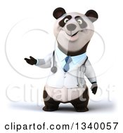 Clipart Of A 3d Doctor Or Veterinarian Panda Presenting Royalty Free Illustration
