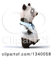 Clipart Of A 3d Doctor Or Veterinarian Panda Walking To The Right Royalty Free Illustration