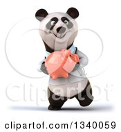 Clipart Of A 3d Happy Doctor Or Veterinarian Panda Walking And Holding A Piggy Bank Royalty Free Illustration