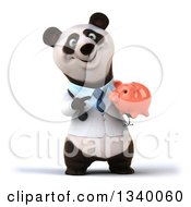 Clipart Of A 3d Happy Doctor Or Veterinarian Panda Holding And Pointing To A Piggy Bank Royalty Free Illustration