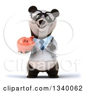 Clipart Of A 3d Happy Bespectacled Doctor Or Veterinarian Panda Holding And Pointing To A Piggy Bank Royalty Free Illustration