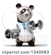 Clipart Of A 3d Doctor Or Veterinarian Panda Working Out Doing Bicep Curls With Dumbbells Royalty Free Illustration