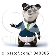 Clipart Of A 3d Happy Bespectacled Business Panda Wearing A Green Tie Presenting To The Left Royalty Free Illustration