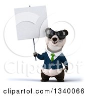 Clipart Of A 3d Happy Business Panda Wearing A Green Tie And Sunglasses Holding A Blank Sign Royalty Free Illustration
