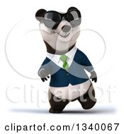 Clipart Of A 3d Happy Business Panda Wearing A Green Tie And Sunglasses Walking Royalty Free Illustration