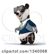 Clipart Of A 3d Happy Business Panda Wearing A Green Tie And Sunglasses Walking To The Left Royalty Free Illustration