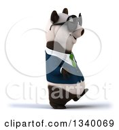 Clipart Of A 3d Happy Business Panda Wearing A Green Tie And Sunglasses Walking To The Right Royalty Free Illustration