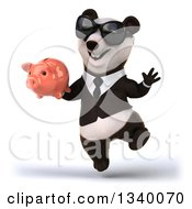 Clipart Of A 3d Happy Business Panda Wearing Sunglasses Jumping And Holding A Piggy Bank 2 Royalty Free Illustration