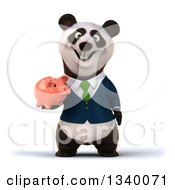 Clipart Of A 3d Happy Business Panda Wearing A Green Tie Holding A Piggy Bank Royalty Free Illustration