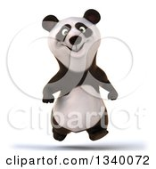 Clipart Of A 3d Happy Panda Running Royalty Free Illustration