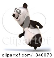 Clipart Of A 3d Happy Panda Running To The Left Royalty Free Illustration