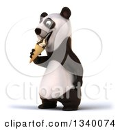 Clipart Of A 3d Happy Panda Facing Left And Eating A Waffle Ice Cream Cone Royalty Free Illustration