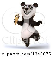 Clipart Of A 3d Happy Panda Jumping And Holding A Waffle Ice Cream Cone Royalty Free Illustration