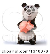 Clipart Of A 3d Happy Panda Holding A Piggy Bank Royalty Free Illustration
