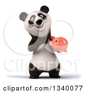Clipart Of A 3d Happy Panda Holding And Pointing To A Piggy Bank Royalty Free Illustration