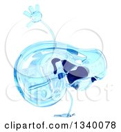 Clipart Of A 3d Blue Glass Ear Mascot Cartwheeling Royalty Free Illustration by Julos