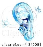 Clipart Of A 3d Blue Glass Ear Mascot Jumping 2 Royalty Free Illustration