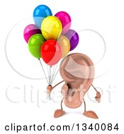 Clipart Of A 3d Ear Character Holding Party Balloons Royalty Free Illustration