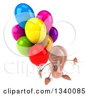 Clipart Of A 3d Ear Character Holding Up A Thumb Down And Party Balloons Royalty Free Illustration
