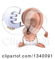 Clipart Of A 3d Ear Character Holding A Euro Currency Symbol Royalty Free Illustration