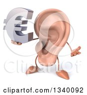 Clipart Of A 3d Ear Character Shrugging And Holding A Euro Currency Symbol Royalty Free Illustration