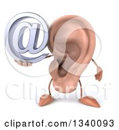 Clipart Of A 3d Ear Character Holding An Email Arobase At Symbol Royalty Free Illustration