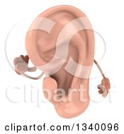 Clipart Of A 3d Ear Character Cupping Itself Royalty Free Illustration by Julos