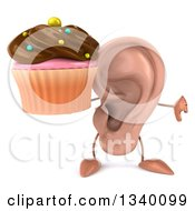 Clipart Of A 3d Ear Character Giving A Thumb Down And Holding A Chocolate Frosted Cupcake Royalty Free Illustration by Julos