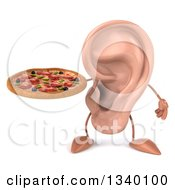 Clipart Of A 3d Ear Character Holding A Pizza Royalty Free Illustration by Julos