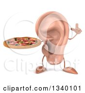 Clipart Of A 3d Ear Character Holding Up A Finger And A Pizza Royalty Free Illustration by Julos
