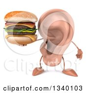 Clipart Of A 3d Ear Character Holding A Double Cheeseburger Royalty Free Illustration