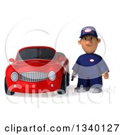 Clipart Of A 3d Short White Male Auto Mechanic By A Red Convertible Car Royalty Free Illustration