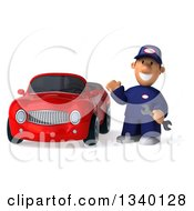 Clipart Of A 3d Short White Male Auto Mechanic Waving With A Wrench By A Red Convertible Car Royalty Free Illustration