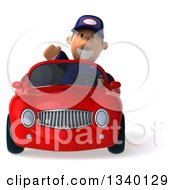 Clipart Of A 3d Short White Male Auto Mechanic Smiling Waving And Driving A Red Convertible Car Royalty Free Illustration