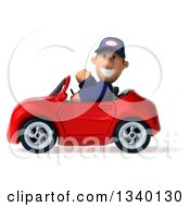 Clipart Of A 3d Short White Male Auto Mechanic Waving Smiling And Driving A Red Convertible Car Royalty Free Illustration