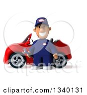 Clipart Of A 3d Short White Male Auto Mechanic Smiling By A Red Convertible Car Royalty Free Illustration