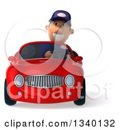 Clipart Of A 3d Short White Male Auto Mechanic Smiling And Driving A Red Convertible Car Royalty Free Illustration