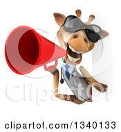 Clipart Of A 3d Doctor Or Veterinary Giraffe Wearing Sunglasses And Announcing With A Megaphone Around A Sign Royalty Free Illustration by Julos