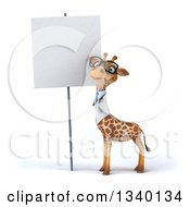 Clipart Of A 3d Bespectacled Doctor Or Veterinary Giraffe By A Blank Sign Royalty Free Illustration by Julos