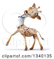 Clipart Of A 3d Doctor Or Veterinary Giraffe Walking To The Left And Laughing Royalty Free Illustration by Julos