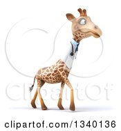 Clipart Of A 3d Doctor Or Veterinary Giraffe Walking To The Right Royalty Free Illustration by Julos