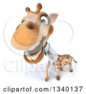 Clipart Of A 3d Doctor Or Veterinary Giraffe Looking Up And Laughing Royalty Free Illustration by Julos