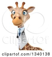Clipart Of A 3d Doctor Or Veterinary Giraffe Over A Sign Royalty Free Illustration by Julos