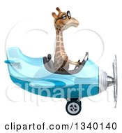 Clipart Of A 3d Bespectacled Giraffe Aviator Pilot Flying A Blue Airplane Royalty Free Illustration