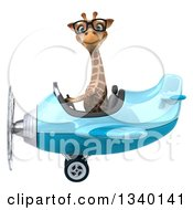Clipart Of A 3d Bespectacled Giraffe Aviator Pilot Flying A Blue Airplane 2 Royalty Free Illustration
