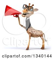 Clipart Of A 3d Bespectacled Business Giraffe Announcing To The Left With A Megaphone Royalty Free Illustration