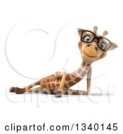 Clipart Of A 3d Relaxed Bespectacled Giraffe Resting On His Side Royalty Free Illustration