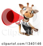 Clipart Of A 3d Business Giraffe Announcing With A Megaphone Around A Sign Royalty Free Illustration