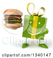 Clipart Of A 3d Happy Green Gift Character Holding And Pointing To A Double Cheeseburger Royalty Free Illustration