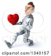 Clipart Of A 3d Caucasian Male Armored Knight Holding A Red Love Heart Speed Walking To The Left Royalty Free Illustration
